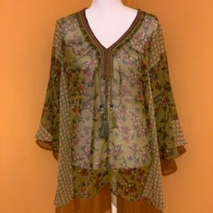 New Directions olive green boho chiffon tunic sz L